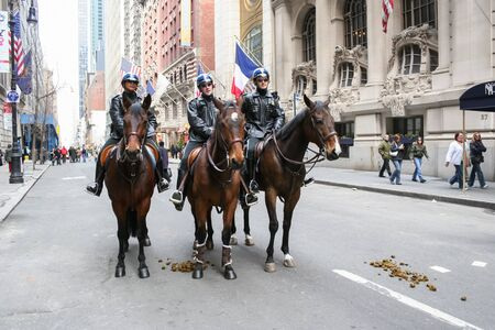 NEW YORK CITY, USA - MARCH 17 : The policemen riding horses in the street on Saint Patricks Day Parade on March 17th, 2005 in New York City, USA. Editorial