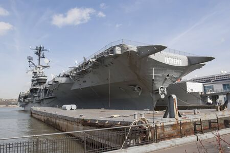 intrepid: NEW YORK CITY, USA - APRIL 22 : The USS Intrepid navy ship, an aircraft carrier, located at the Intrepid Sea, Air and Space Museum on April 22nd, 2005 in New York City, USA. Editorial