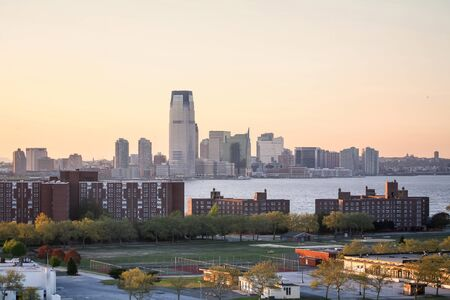 NEW YORK CITY, USA - APRIL 30 : A view of 30 Hudson Street in Jersey City with the Governors island in the Upper New York Bay at sunset on April 30, 2006 in New York City, USA. Editorial