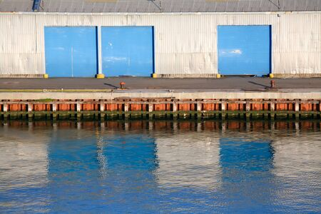 A view of the storage at container terminal. Stock Photo