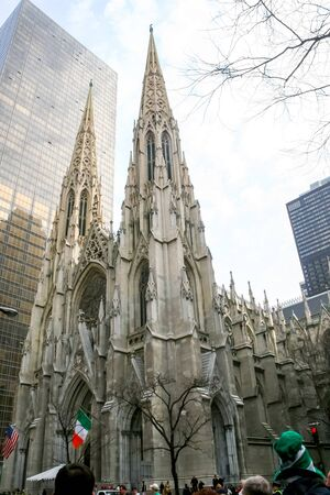 march 17th: NEW YORK CITY, USA - MARCH 17 : A low angle view of the Saint Patricks Cathedral in Midtown Manhattan on March 17th, 2005 in New York City, USA. Editorial