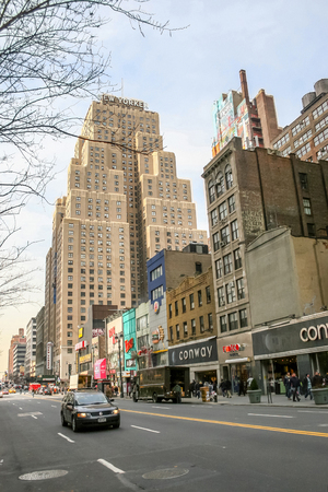 march 17th: NEW YORK CITY, USA - MARCH 17 : A  view of the Wyndham New Yorker Hotel from West 34th street in Midtown Manhattan on March 17th, 2005 in New York City, USA.