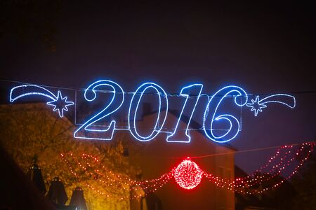 declared: A 2016 illuminating decoration sign in Zagreb, Croatia. Zagreb has been declared the best european christmas destination in 2015.