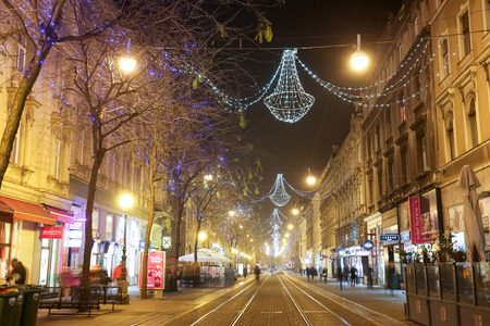 advent time: ZAGREB, CROATIA - DECEMBER 14: A view of the decorated Jurisiceva street at night in city center at Advent time on December 14th, 2015 in Zagreb, Croatia. Zagreb has been declared the best european christmas destination in 2015.