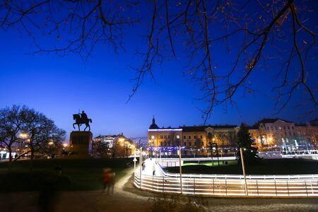 advent time: The city ice skating rink at Advent time in King Tomislav Park at sunset in Zagreb, Croatia. Zagreb has been declared the best european christmas destination in 2015.