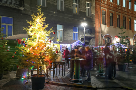 advent time: ZAGREB, CROATIA - DECEMBER 14: People enjoying the Advent time in Kurelceva street in city center on December 14th, 2015 in Zagreb, Croatia. Zagreb has been declared the best european christmas destination in 2015.