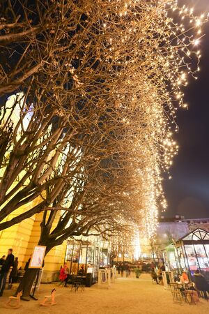advent time: ZAGREB, CROATIA - DECEMBER 14: Illuminated treetop in front of the Art Pavilion in King Tomislav Park at Advent time on December 14th, 2015 in Zagreb, Croatia. Zagreb has been declared the best european christmas destination in 2015. Editorial