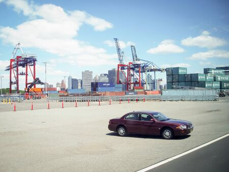 industrial park: A car parked in the parking lot of the Red Hook Container Terminal in Brooklyn on May 23, 2006 in New York City, USA. Editorial