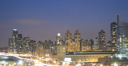 morning blue hour: A view of the panorama of Upper west side Manhattan at sunset in New York City, USA.
