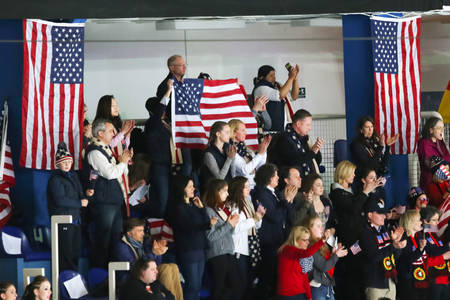 cheering fans: ZAGREB, CROATIA - MARCH 11 : USA fans cheering USA One team during Day 1 of the ISU Synchronized Skating Junior World Challenge Cup at Dom Sportova on March 11, 2016 in Zagreb, Croatia.