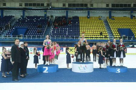 group shot: ZAGREB,CROATIA - MARCH 12: Group shot of Cool Dreams Senior, Boomerang and Team Passion, winners of the 13th Zagreb Snowflakes Trophy at Dom Sportova on March 12,2016 in Zagreb,Croatia. Editorial