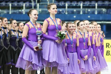 third world: ZAGREB,CROATIA - MARCH 12: Team Russia 1 have won bronze medals for the third place on the ISU Synchronized Skating Junior World Challenge Cup at Dom Sportova on March 12,2016 in Zagreb,Croatia.