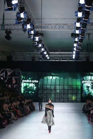 envy: ZAGREB, CROATIA- MARCH 15: Fashion model wearing clothes designed by eNVy ROOM on the Bipa Fashion.hr fashion show on March 15,2016 in Zagreb, Croatia Editorial
