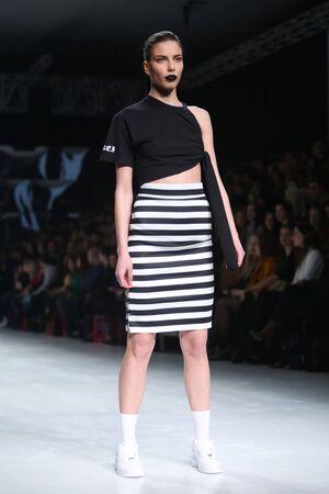 katarina: ZAGREB, CROATIA-MARCH 17, 2016:Model wearing clothes designed by Obekei on the Bipa Fashion.hr fashion show in Zagreb, Croatia. Obekei is a croatian fashion brand,handmade design by Katarina Smolic.