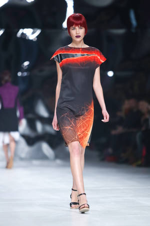katarina: ZAGREB,CROATIA-MARCH 17,2016:Model wearing clothes designed by Hedra Design on the Bipa Fashion.hr fashion show in Zagreb,Croatia.HEDRA Design is a clothing and accessories fashion brand by Ana Jagic.