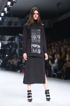 coded: ZAGREB,CROATIA-MARCH 17,2016:Model wearing clothes designed by Coded Edge on the Bipa Fashion.hr fashion show in Zagreb, Croatia. Coded Edge is Croatian fashion label,by Silvio Ivkic and Jure Perisic.