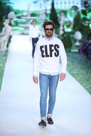 elf's: ZAGREB, CROATIA - MARCH 18, 2016 : Model wearing clothes designed by Elfs on the Bipa Fashion.hr fashion show in Zagreb, Croatia.