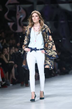 sever: ZAGREB, CROATIA- MARCH 16: Fashion model wearing clothes designed by Robert Sever on the Bipa Fashion.hr fashion show on March 16,2016 in Zagreb, Croatia