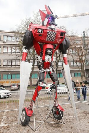ZAGREB, CROATIA - MARCH 26, 2016 : Exhibition by Danilo Baletic (23) named Transformers protecting Zagreb on square Franje Tudjmana in Zagreb,Croatia. Exhibition is made of automobile parts and waste.