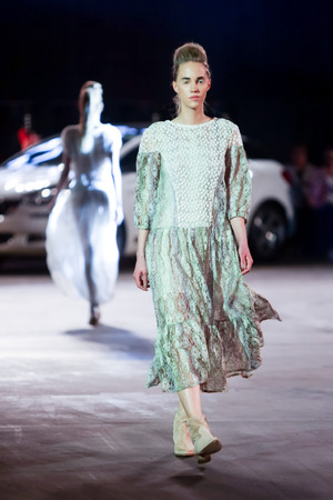 katarina: ZAGREB, CROATIA - APRIL 5, 2016 : Fashion model wearing clothes designed by Katarina Dzale on the Cro a Porter fashion show in Zagreb, Croatia. Editorial