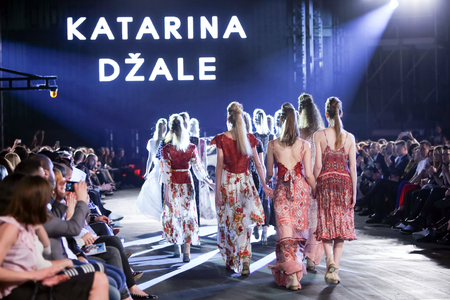 katarina: ZAGREB, CROATIA - APRIL 5, 2016 : Fashion model wearing clothes designed by Katarina Dzale on the Cro a Porter fashion show in Zagreb, Croatia. Editorial