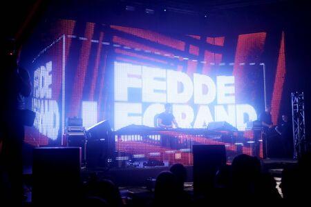 sensation: ZAGREB, CROATIA - APRIL 9, 2016 : Dj Fedde Le Grand performing on La Fiesta Stage by Sensation party in Hypo center in Zagreb, Croatia.