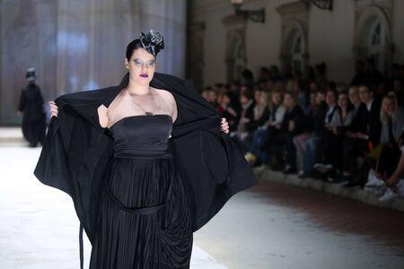 ZAGREB, CROATIA - APRIL 21, 2016 : Fashion model wearing clothes designed by Etna Maar on the Cro a Porter fashion show at Klovicevi Dvori in Zagreb, Croatia.