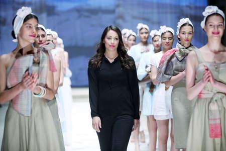ZAGREB, CROATIA - APRIL 21, 2016 : Fashion model wearing clothes designed by Lore on the Cro a Porter fashion show at Klovicevi Dvori in Zagreb, Croatia. Designer Lore.