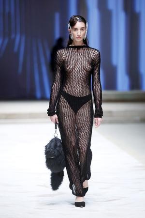 ZAGREB, CROATIA - APRIL 21, 2016 : Fashion model wearing clothes designed by Mario Vijackic on the Cro a Porter fashion show at Klovicevi Dvori in Zagreb, Croatia.