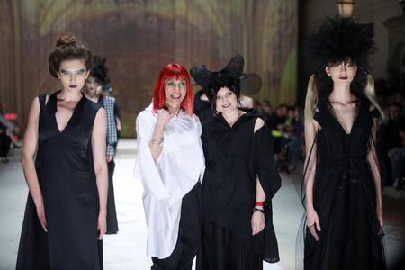 ZAGREB, CROATIA - APRIL 21, 2016 : Fashion model wearing clothes designed by Etna Maar on the Cro a Porter fashion show at Klovicevi Dvori in Zagreb, Croatia. Designers Etna Maar.