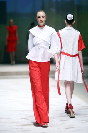 ZAGREB, CROATIA - APRIL 21, 2016 : Fashion model wearing clothes designed by TWINS by Begovic i Stimac on the Cro a Porter fashion show at Klovicevi Dvori in Zagreb, Croatia.