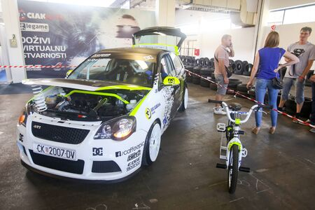 rely: ZAGREB, CROATIA - JUNE 4, 2016 : A rely car Volkswagen Polo from rely driver Vedran Delimar exhibited at Fast and furious street race in Zagreb, Croatia.