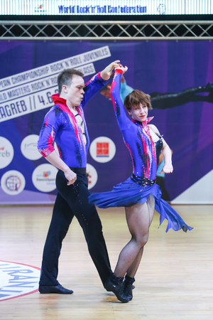 finals: ZAGREB, CROATIA - JUNE 4, 2016 : Finals of World Masters Rock n Roll Main Class in Zagreb, Croatia. Performance of dancing couple from Russian Federation, Chistikov Konstantin and Osnovina Ksenia.