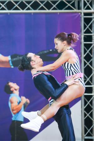 semi dress: ZAGREB, CROATIA - JUNE 4, 2016 : Semi finals of World Masters Rock n Roll Main Class in Zagreb, Croatia. Performance of dancing couple from France, Thevenon Nicolas and Poulios-Burel Melitine.