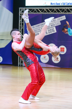 berg: ZAGREB,CROATIA - JUNE 4,2016 : Semi finals of World Masters Rock n Roll Main Class in Zagreb, Croatia. Performance of dancing couple from Norway, Berg Steinar and Olstad Anne Ragnhild. Editorial