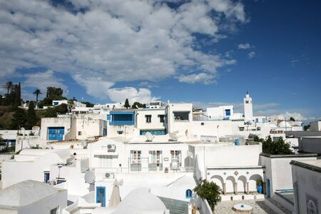sidi bou said: SIDI BOU SAID, TUNISIA - A view of architecture in Sidi Bou Said, Tunisia. Sidi Bou Said is a town in northern Tunisia known for the use of blue and white in its architecture.