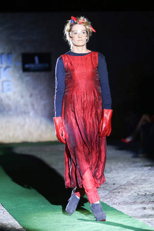 galas: ZAGREB, CROATIA - JUNE 3,2016 : Model wearing clothes designed by Igor Galas on the Fashion Week Zagreb fashion show in the park Green Gold Centre in Zagreb,Croatia. Fashion show Mamita by Igor Galas.