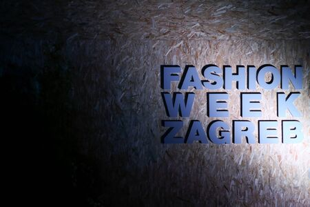 green and gold: ZAGREB, CROATIA - JUNE 3, 2016 : Sign of the Fashion Week Zagreb fashion show in the park Green Gold Centre in Zagreb, Croatia. Editorial