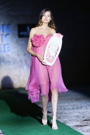 show garden: ZAGREB, CROATIA - JUNE 3, 2016 : Model wearing collection Secret Garden by Afrodita on the Fashion Week Zagreb fashion show in the park of Green Gold Centre in Zagreb, Croatia.