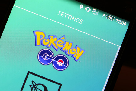 VELIKA GORICA, CROATIA- JULY 15, 2016 : Macro close up image of Pokemon Go game app logo on the smartphone. Pokemon Go is a free-to-play augmented reality mobile game developed by Nintendo. 報道画像