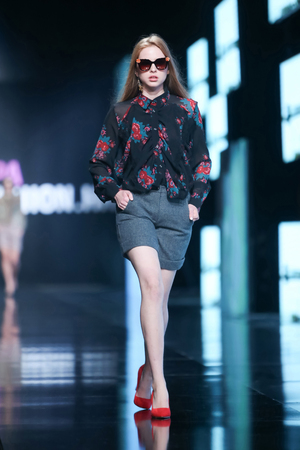 ZAGREB, CROATIA- OCTOBER 11, 2016: Fashion model wearing clothes for autumn-winter, designed by Robert Sever on the Bipa Fashion.hr fashion show in Zagreb, Croatia.