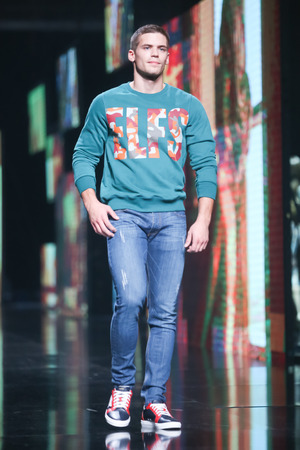 elfs: ZAGREB, CROATIA - OCTOBER 14, 2016: Fashion model wearing clothes for autumn-winter, designed by Elfs on the Bipa Fashion.hr fashion show in Zagreb, Croatia. Editorial