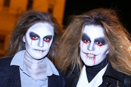 ZAGREB, CROATIA- OCTOBER 31, 2016 : People dressed up for Halloween party in the streets of Zagreb, Croatia. Editorial