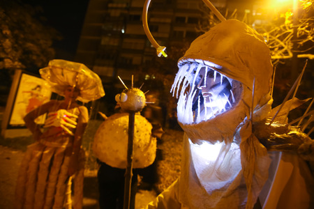 dressed up: ZAGREB, CROATIA- OCTOBER 31, 2016 : People dressed up for Halloween party in the streets of Zagreb, Croatia. Editorial