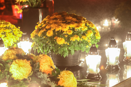 all souls' day: Floral arrangements and lampions lined up on grave stone at cemetery on All Saints day in Croatia.