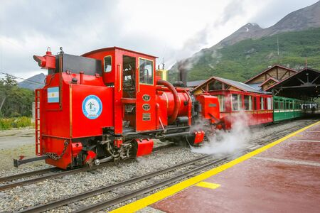 USHUAIA, ARGENTINA - FEBRUARY 2, 2006 : The Train of the End of the World at the Southern Fuegian Railway Station in Ushuaia, Argentina. The Southern Fuegian Railway is a heritage railway into the Tierra del Fuego National Park.
