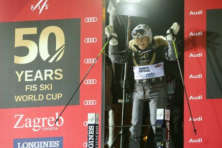 fis: ZAGREB, CROATIA - JANUARY 4th, 2017 : A celebration marking the 50th anniversary of the FIS World Cup in alpine skiing. Ski race of overall winners of the FIS World Cup on the ski slope in Bakaceva street, on the road from the cathedral to the main square