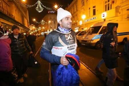 alberto: ZAGREB, CROATIA - JANUARY 4th, 2017 : A celebration marking the 50th anniversary of the FIS World Cup in alpine skiing. Ski race of overall winners of the FIS World Cup on the ski slope in Bakaceva street, on the road from the cathedral to the main square