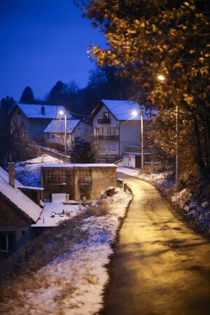 A view of houses in village covered in snow at sunset.