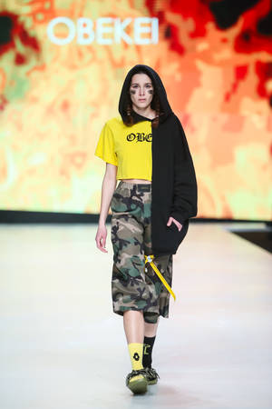 ZAGREB, CROATIA - MARCH 30, 2017 : Fashion model wearing clothes for spring - summer, designed by Obekei on the Bipa Fashion.hr fashion show in Zagreb, Croatia. Editorial
